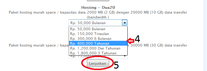 cara upgrade paket hosting 3